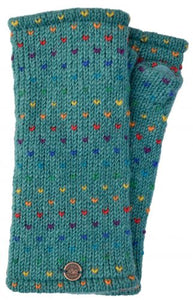 Hand Knit Rainbow Tick Wrist Warmers - Sea
