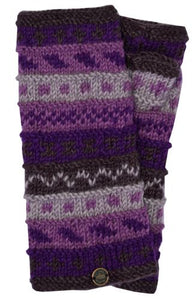 Hand Knit Wrist Warmers - Purples