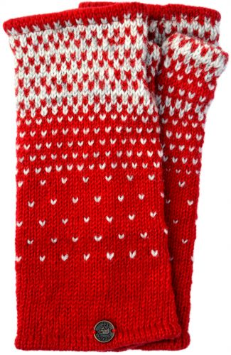 Graduated Tick Wrist Warmers Red/Grey