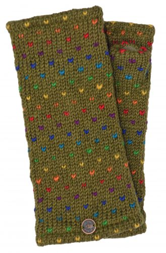 Hand Knit Rainbow Tick Wrist Warmers - Olive Green