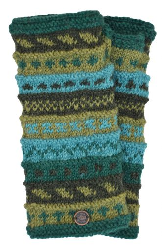 Hand Knit Wrist Warmers - Greens