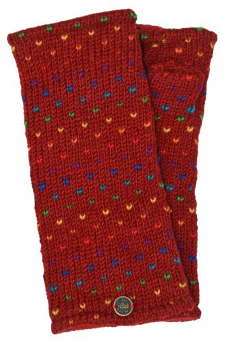 Hand Knit Rainbow Tick Wrist Warmers - Red
