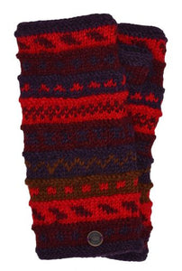 Hand Knit Wrist Warmers - Red/Rust