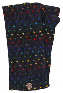 Hand Knit Rainbow Tick Wrist Warmers - Black