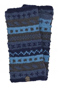Hand Knit Wrist Warmers - Blues