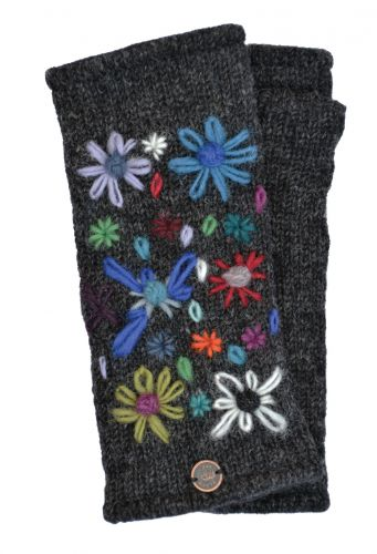 Hand Embroidered Flower - Fleece Lined Wrist Warmer - Charcoal