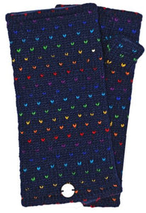 Hand Knit Rainbow Tick Wrist Warmers - Blue