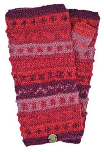 Hand Knit Wrist Warmers - Berries