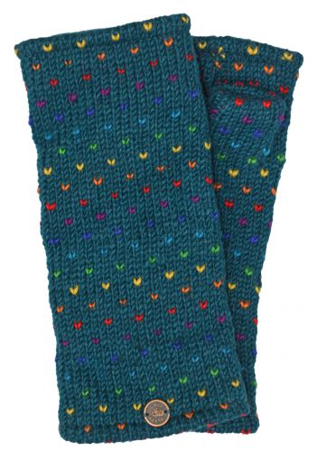 Hand Knit Rainbow Tick Wrist Warmers - Pacific