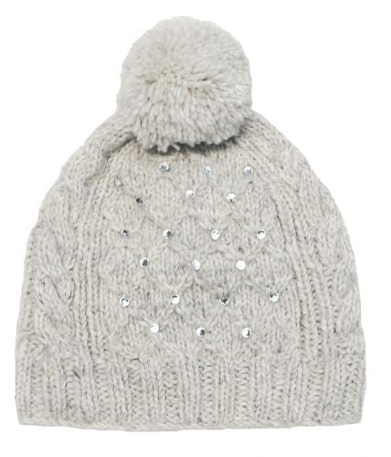 Hand Knitted Pale Grey Trellis Sparkle Bobble Hat
