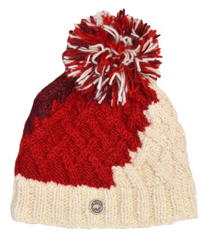 Hand Knit Wool Lattice Step Up Bobble Hat Reds/Cream