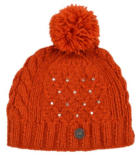 Hand Knitted Amber Trellis Sparkle Bobble Hat