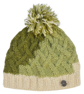 Hand Knit Lattice Bobble Hat Green/ Cream