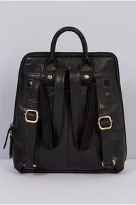 Rowallan Leather Front Pocket Backpack - Black