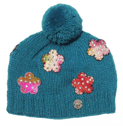 Hand Knitted Felt Flower Bobble Hat Turquoise