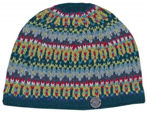 Multi-patterned Beanie Teal/Grey