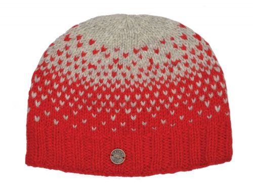 Graduated Tick Beanie Red/Grey