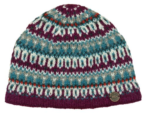 Hand Knitted Multi Patterned Beanie Aqua