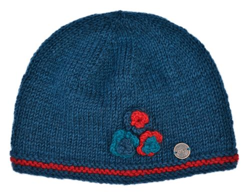 Wool Hand Knitted Three Coloured Beanie - Teal