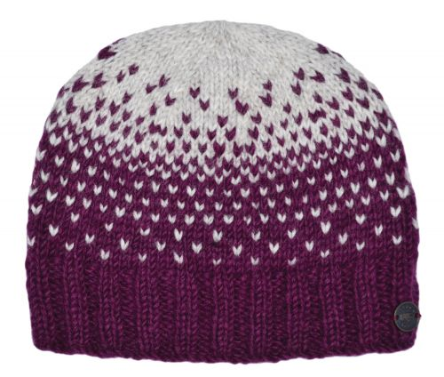 Graduated Tick Beanie Deep Berry/Grey