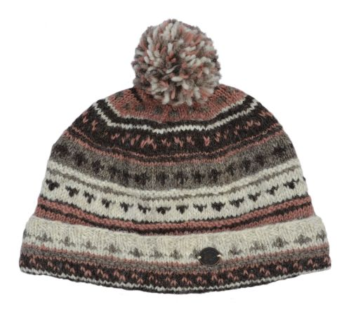 Wool Hand Knit Turn Up Pattern Bobble Hat