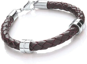 Men's Leather Lobster Clasp Bracelet - Brown