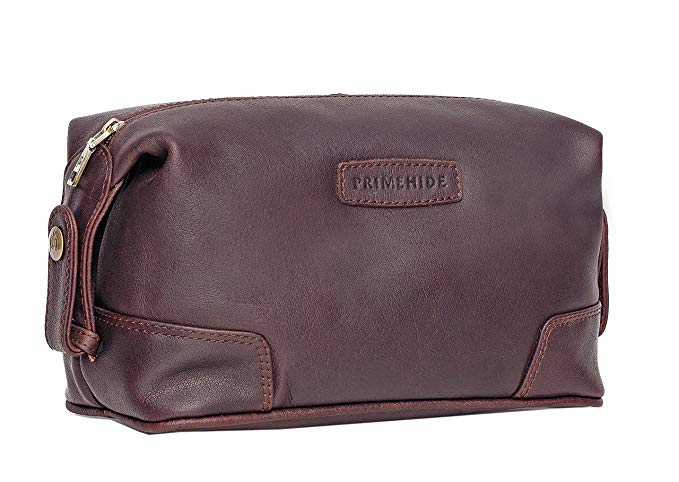 Dark Brown Leather Toiletry bag