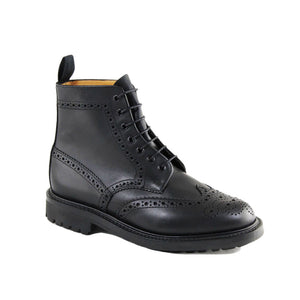 Sanders Black Brogue Derby Boot