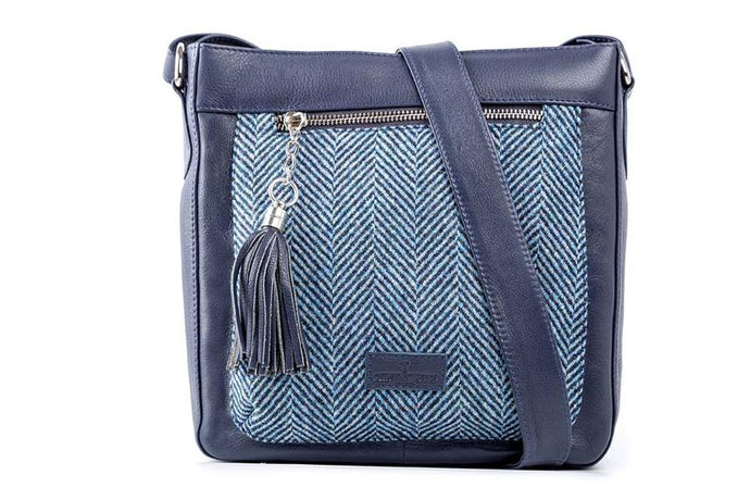 Iona Leather Navy Herringbone Islay Tweed  Shoulder Bag