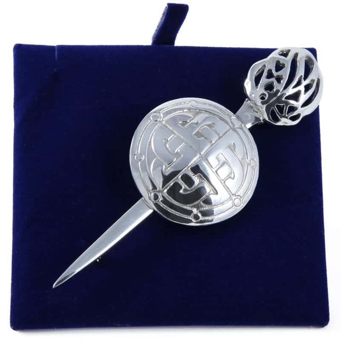 Handmade Polished Pewter Claymore Kilt Pin
