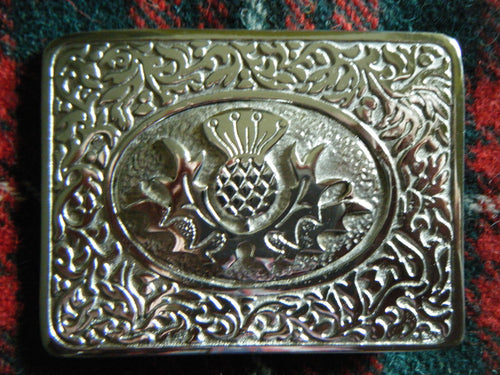 Handmade Scottish Kilt Belt Buckle Pewter - Thistle