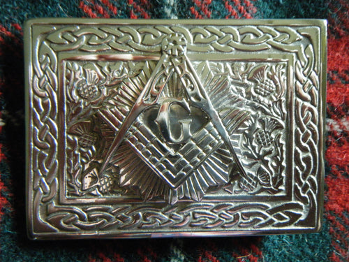 Handmade Scottish Kilt Belt Buckle Pewter Masonic