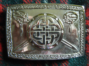 Handmade Scottish Kilt Belt Buckle Pewter Jacobite Targe & Swords