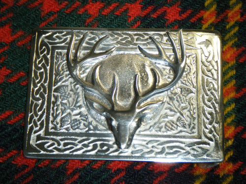 Handmade Scottish Kilt Belt Buckle Pewter Stag Head