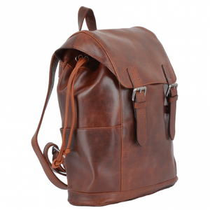 Rich Dark Tan Leather Backpack