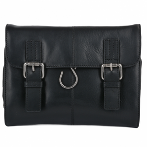 Gents Black Leather Hanging Wash Bag