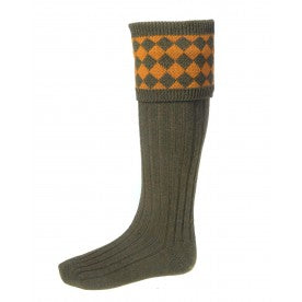 House of Cheviot Chessboard Socks - Bracken