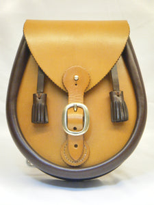 Handcrafted Tan & Chestnut Brown Leather Buckled Lomond Sporran