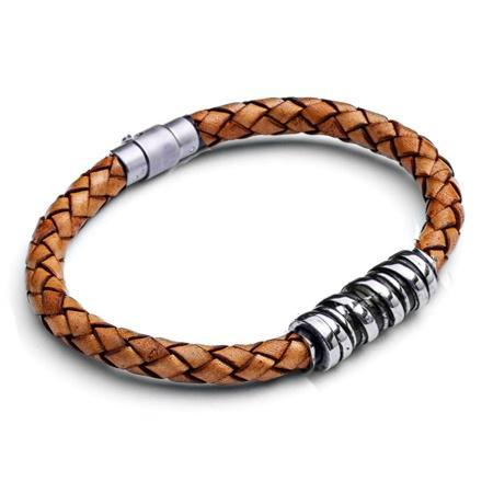 Men's Spiral Bar Leather Bracelet - Tan