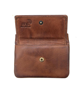 Zip Top Coin Purse RFID - Brown