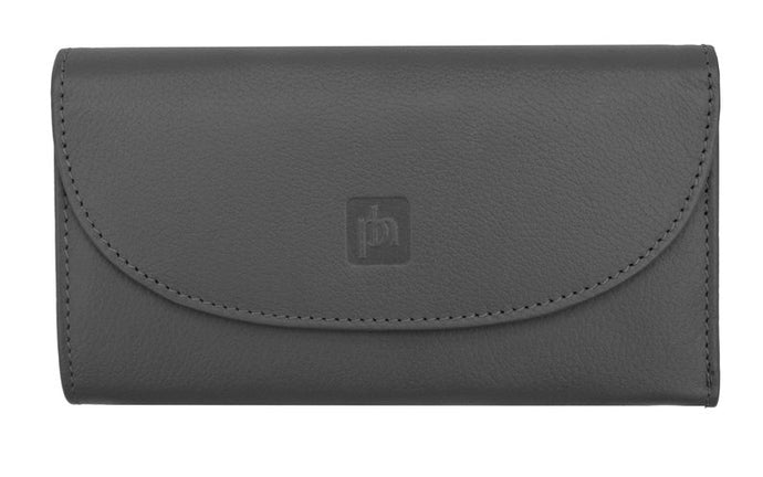 Ladies windermere Flapover Leather Purse - Black