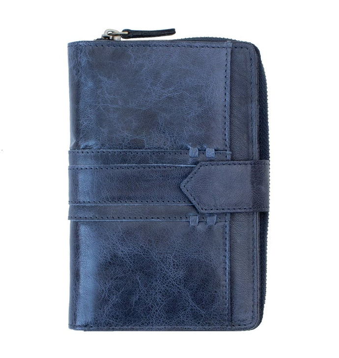 Ladies Navy Tab Leather Purse