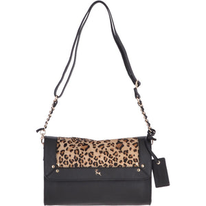 Natural Hair on Hide Medium Black/ Leopard Leather Cross Bag
