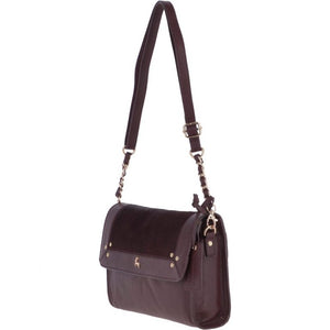 Natural Hair on Hide Medium Leather Cross Bag Bordeaux