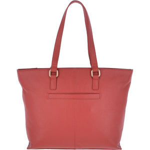 Medium Red Leather Tote Bag