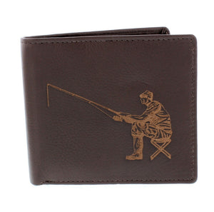 Engraved Leather Angler Wallet