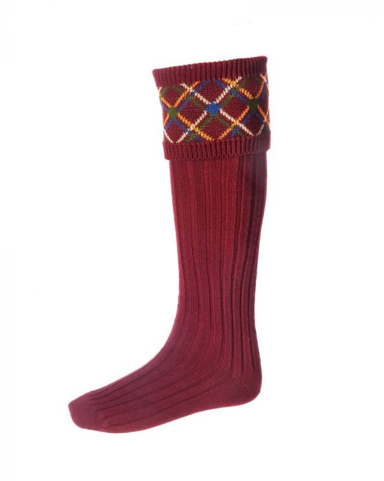 House of Cheviot Melrose Socks - Burgundy