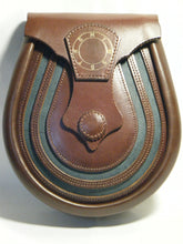 Handmade Brown Masonic Leather Lucky Horse Shoe Sporran, Ness Glacier Blue -Urban