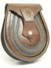 Herd of Sporrans - Handmade Brown Masonic Leather Lucky Horse Shoe Sporran, Ness Glacier Blue -Urban