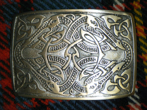 Handmade Scottish Kilt Belt Buckle Polished Pewter Celtic Sea Dragons